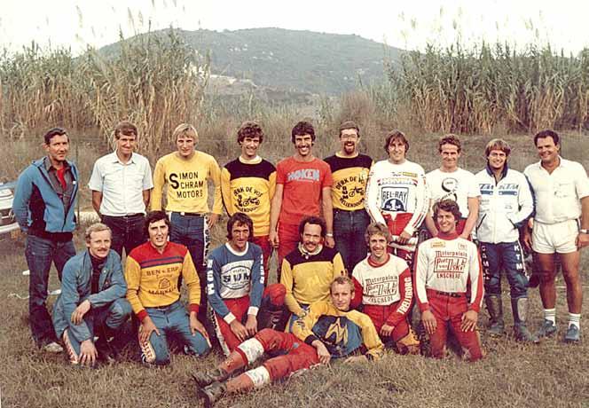 Het Nederlandse zesdaagseteam van 1982 op Elba. Een Noppennieuws T-shirt voor diegene die als eerste alle namen weet!